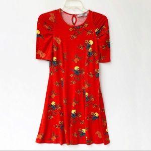 Asos Crane Moon Printed A line Red Dress 6